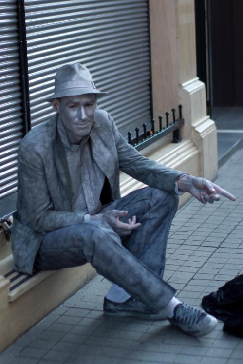 Silver man in street performance, Beyoğlu-Taksim, Istanbul, pentax k10d