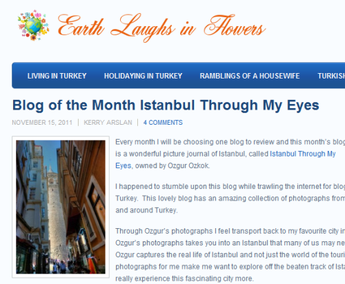 Blog of the Month Istanbul Through My Eyes - Earth Laughs In
